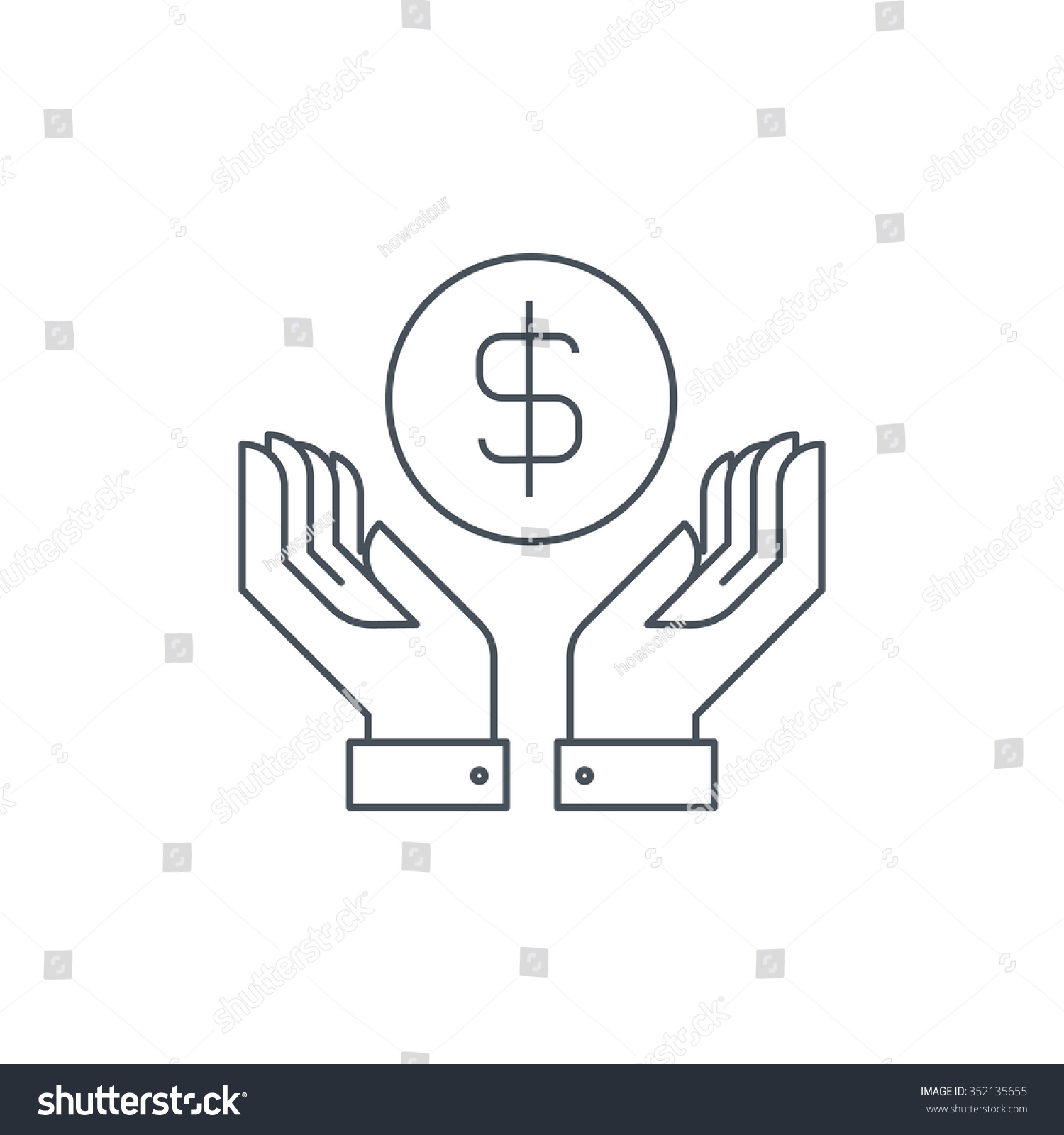 wealth salary icon suitable info graphics stock vector  wealth salary icon suitable for info graphics websites and print media thin line
