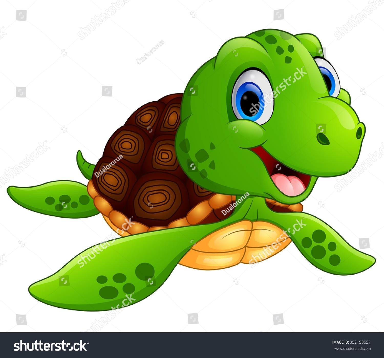 Happy Sea Turtle Cartoon Stock Vector 352158557 : Shutterstock