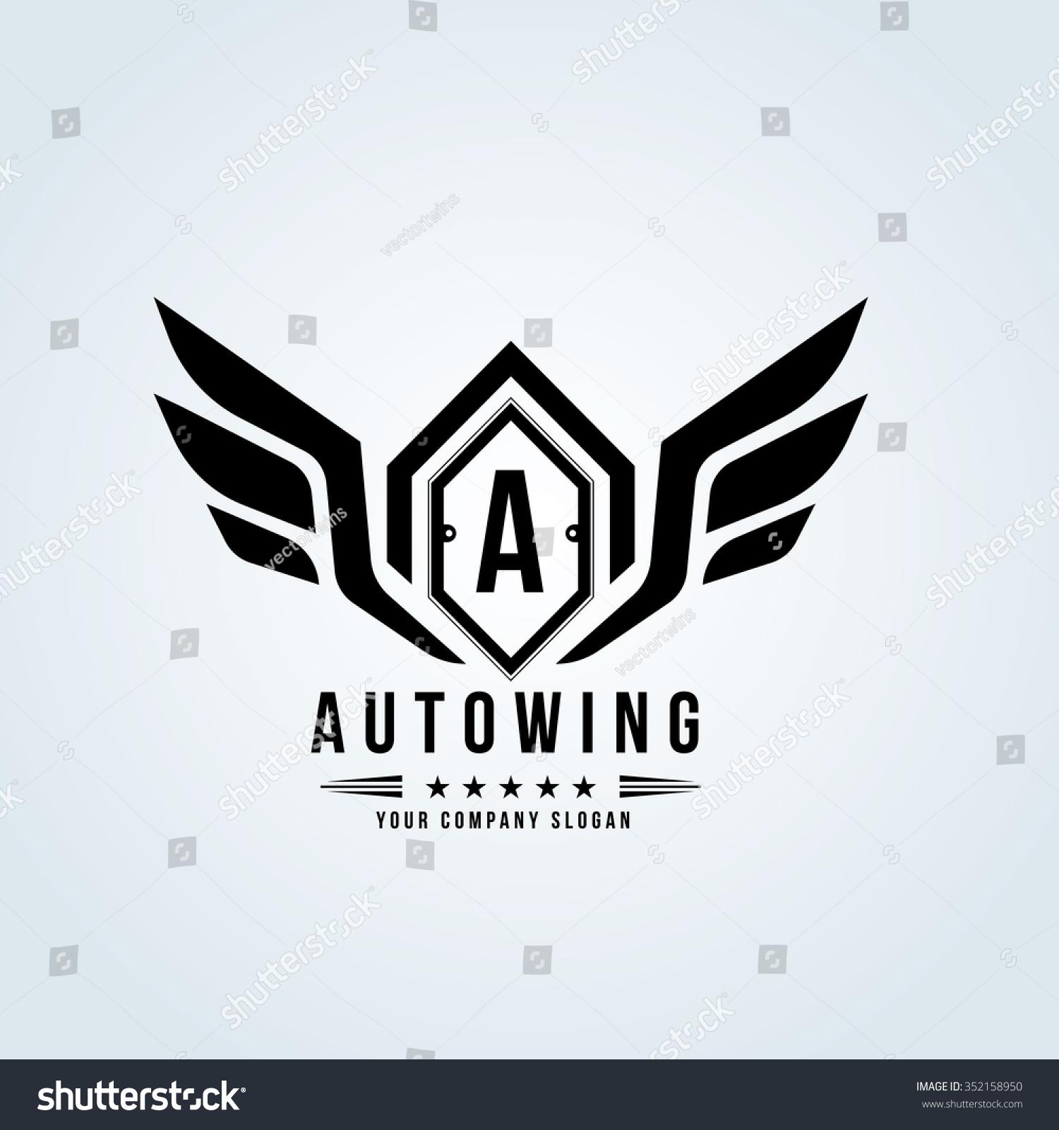 Old Car Logos Wings auto wing automotive logo crests logo vector logo