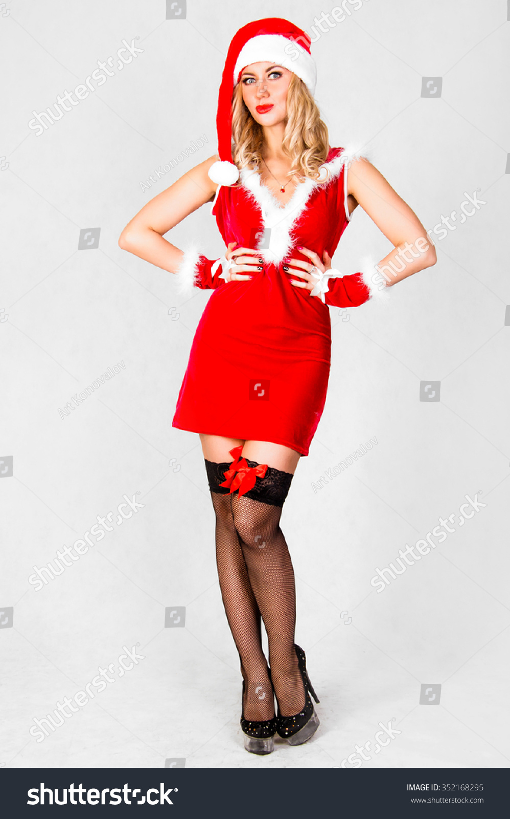 8a9dbc80f1b2 Beautiful Young Woman Christmas Clothes Over Stock Photo (Edit Now ...