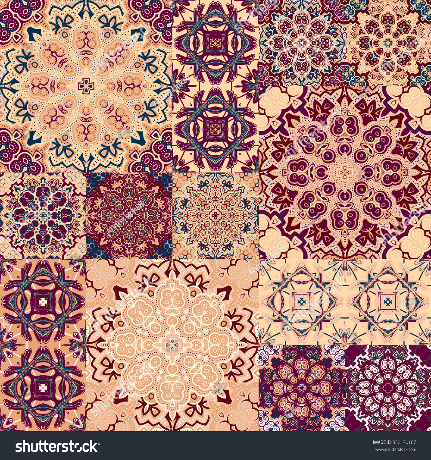 Large set colorful vintage ceramic tiles stock vector 352170167 large set colorful vintage ceramic tiles stock vector 352170167 shutterstock dailygadgetfo Gallery