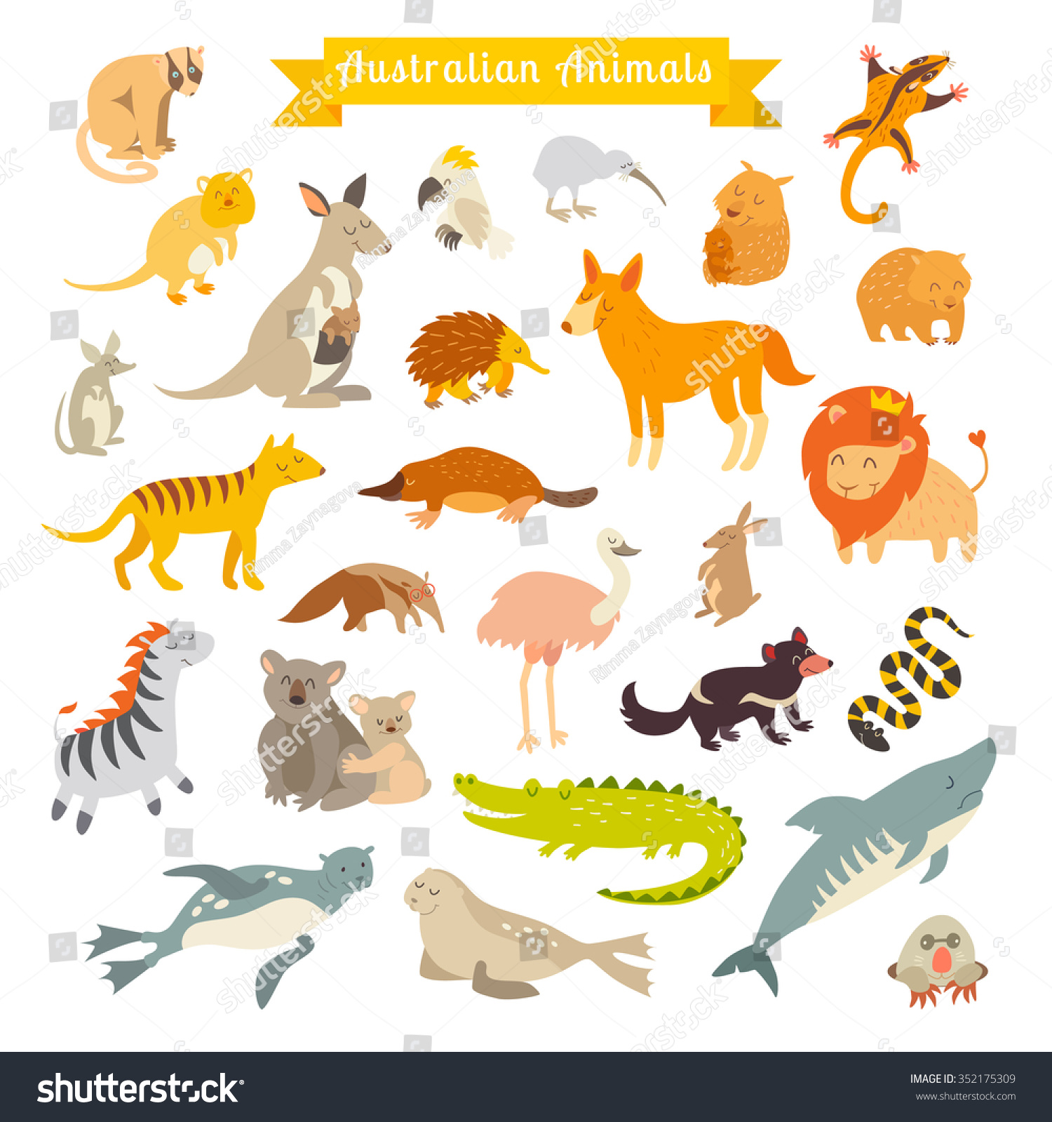 Animals World Australia Australian Animals Children Stock Vector Royalty Free 352175309