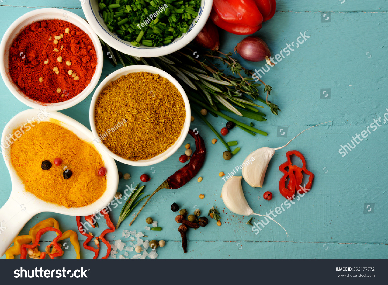 Spices Herbs Over Blue Background Food Stock Photo (Edit Now ...