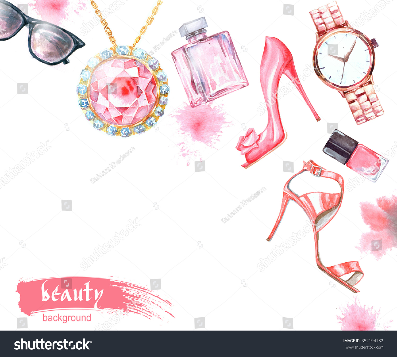 Fashionable Clothes Shoes Jeans Lipsticks Nail Polish: Watercolor Fashion Cosmetics Background Make Artist Stock
