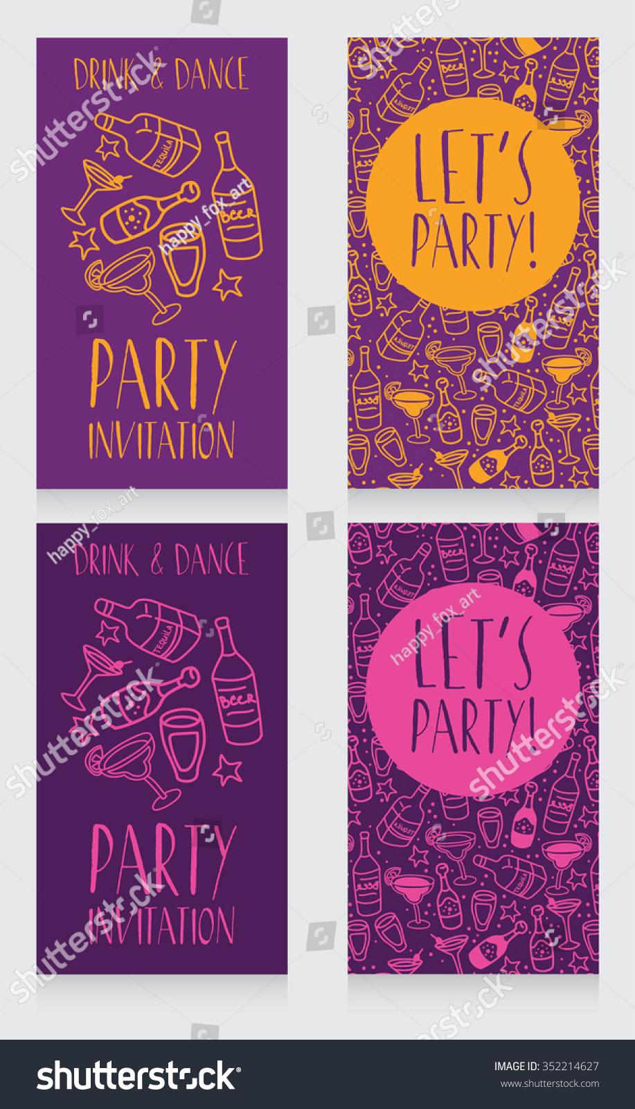Set Party Invitation Templates Disco Style Stock Vector 352214627 ...
