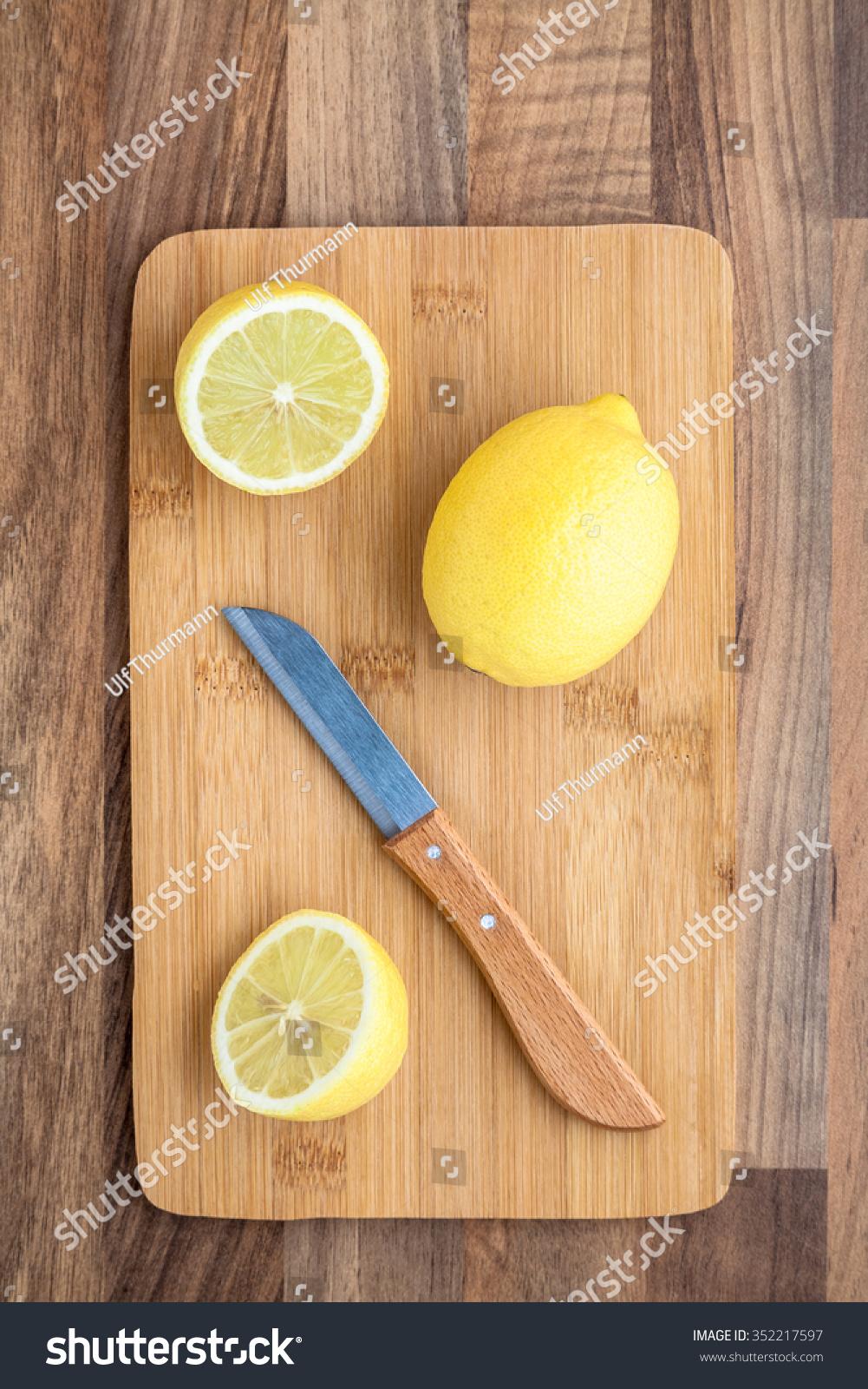 Lemons Chopping Board Knife Stock Photo 352217597 ...