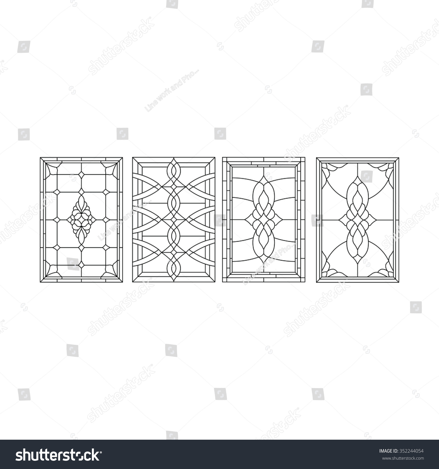 Vintage window door design sketch stock vector 352244054 for Window design sketch