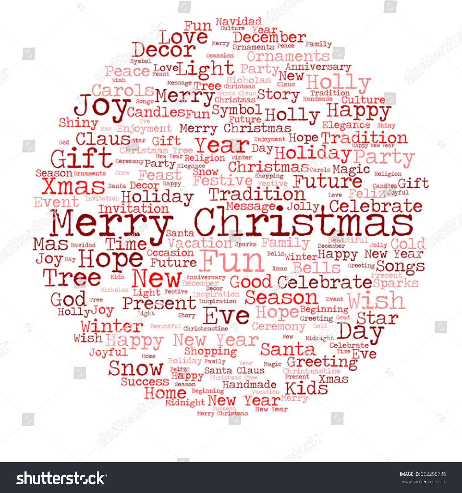 Vector Concept Or Conceptual Merry Christmas Holiday Happy New Year Winter Abstract Text Word Cloud