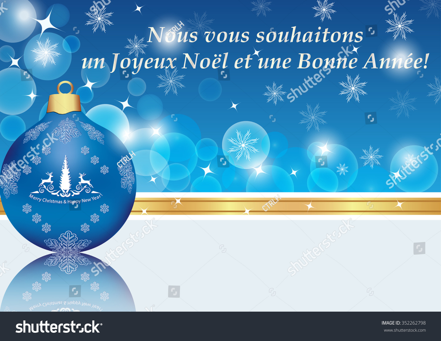 New year greeting card message french stock illustration 352262798 new year greeting card with message in french we wish you a merry christmas and kristyandbryce Gallery