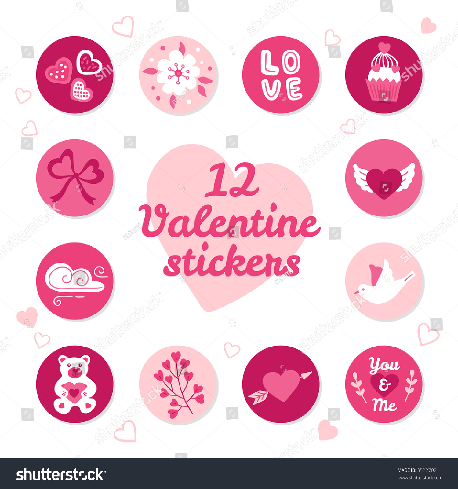 set 12 valentine stickers hearts flower stock vector (royalty free