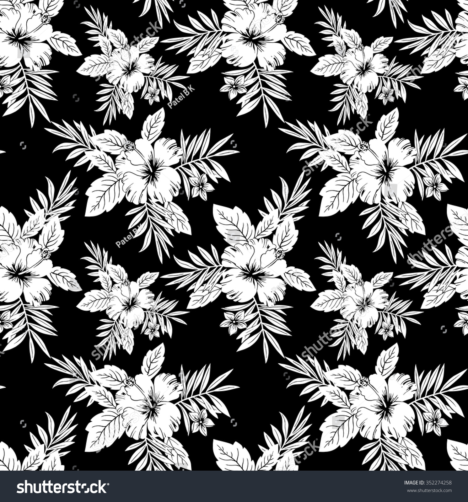 Seamless Black White Floral Wallpaper Stock Vector 352274258