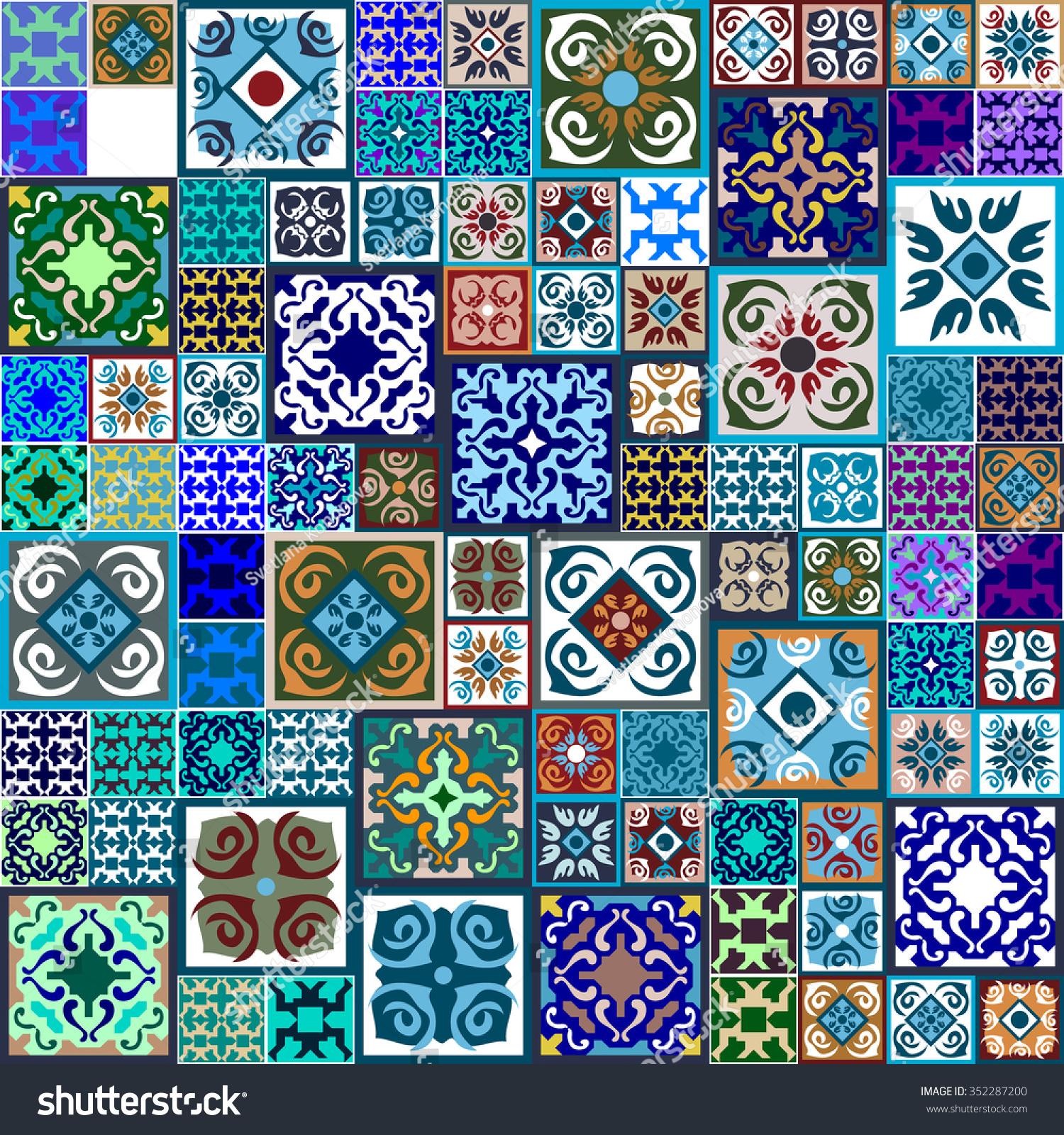 Royalty-free Rich Ceramic tiles Mega set. Colorful… #352287200 Stock ...