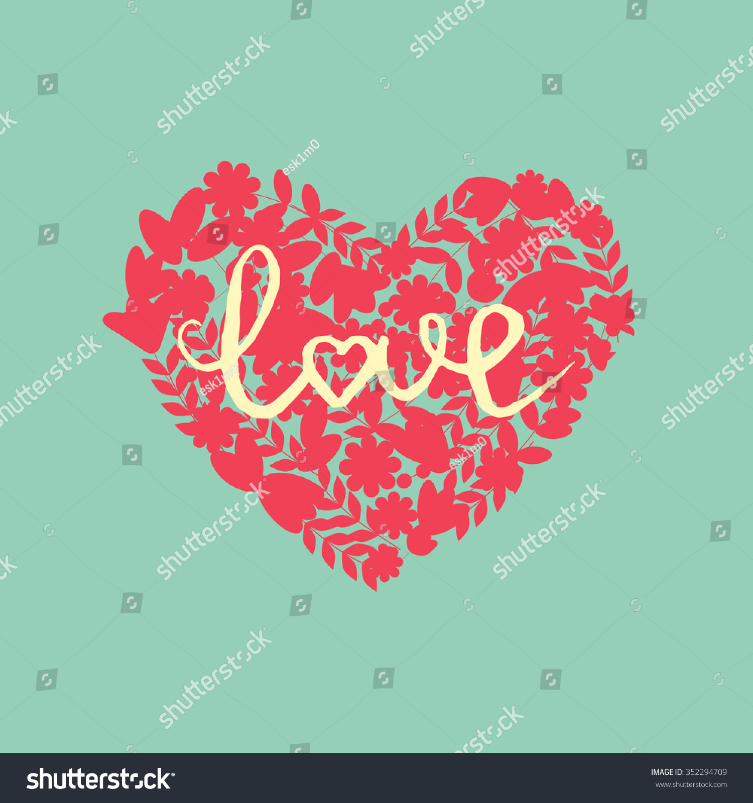 Valentine Heart Hand Drawn Lettering Love Stock Vector 352294709 ...