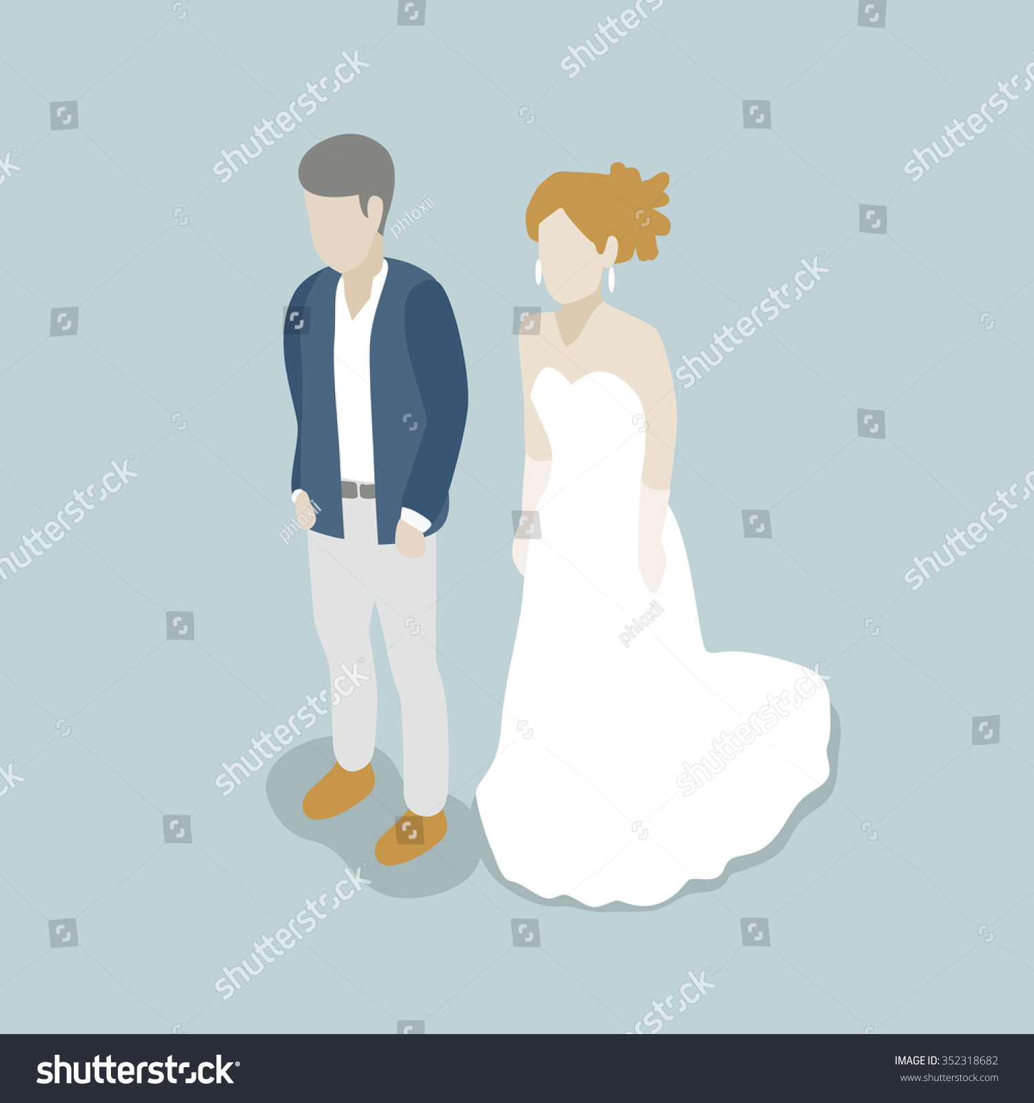 Isometric Couple Bride Suit Dress Formal Stock Vector 352318682 ...
