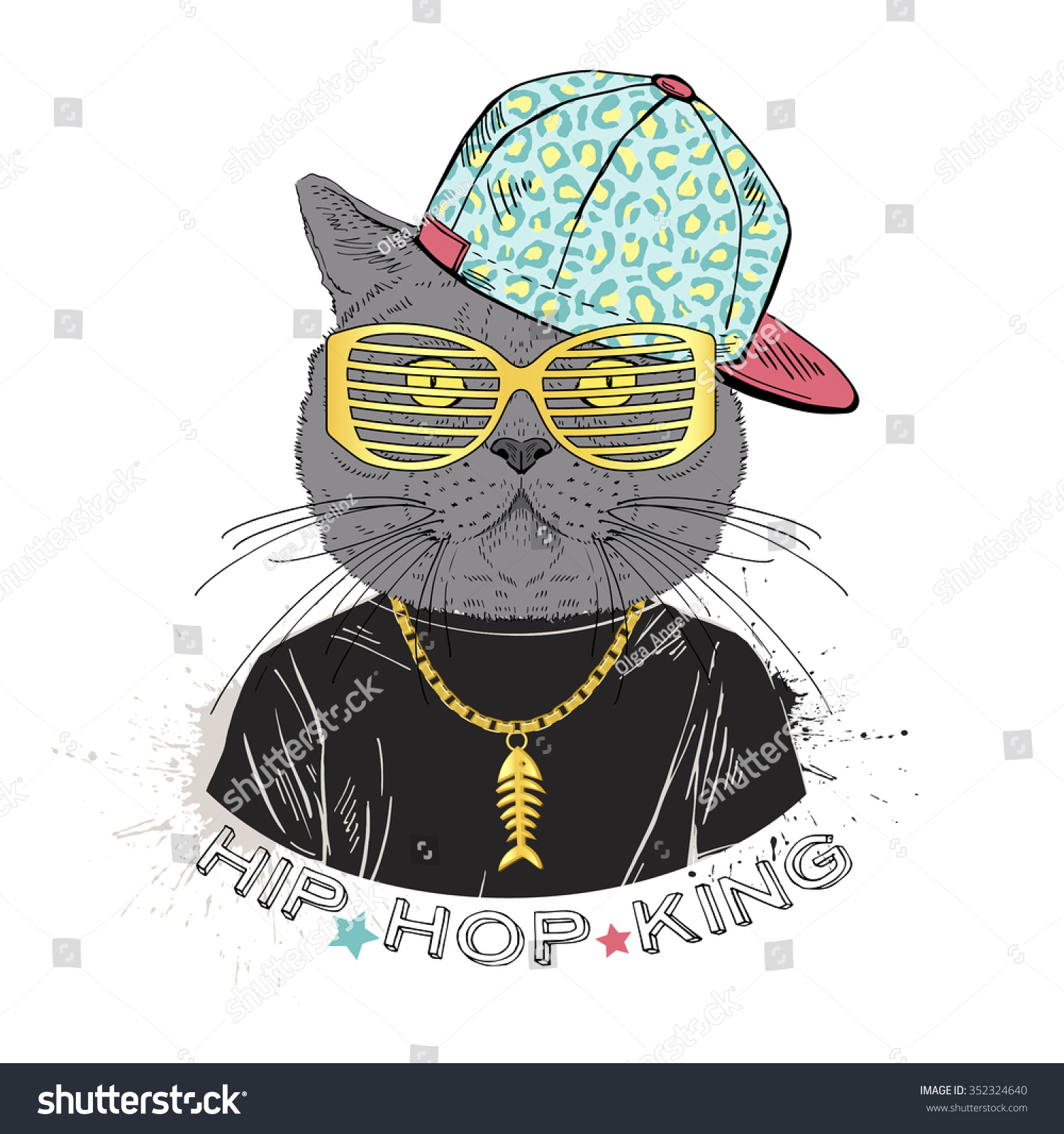Cat Boy Dressed Hip Hop Style Stock Vector Royalty Free 352324640