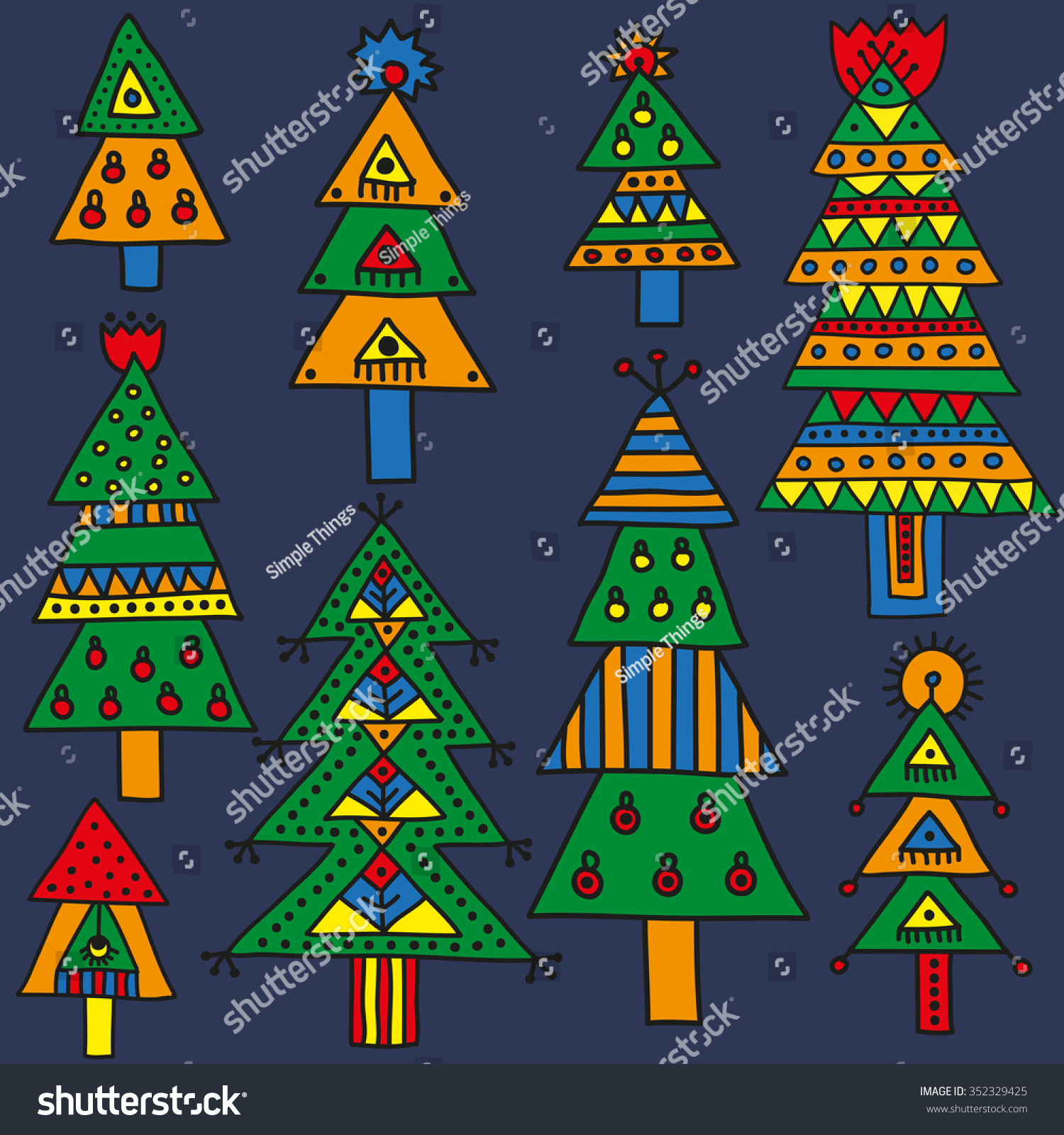 Set Colorful Christmas Trees Different Patterns Stock Vector ...