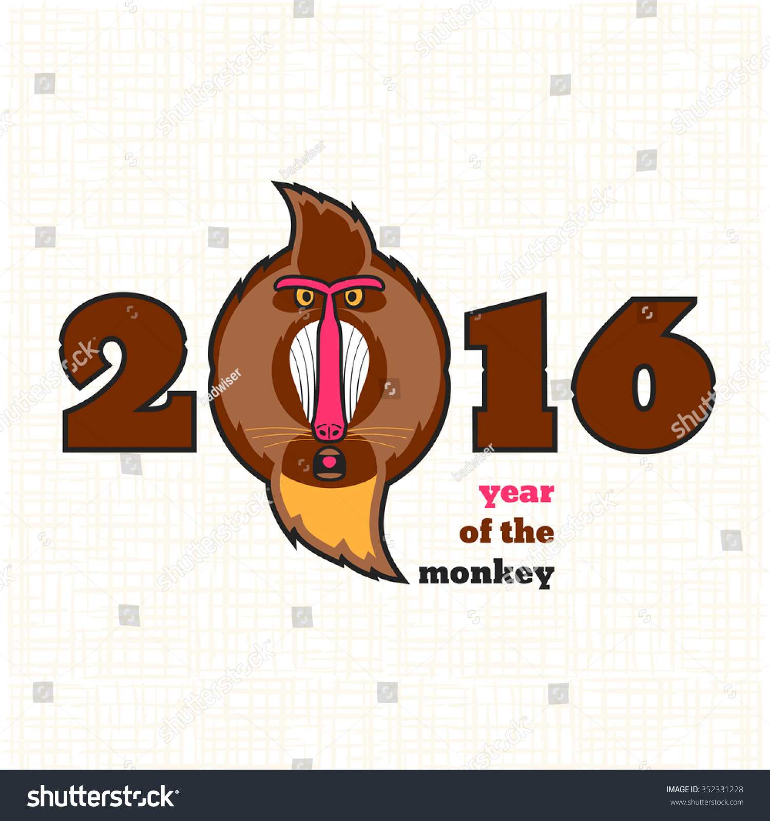 Cute cartoon baboon illustration calendar greeting stock vector cute cartoon baboon illustration for calendar greeting card banner symbol of chinese biocorpaavc
