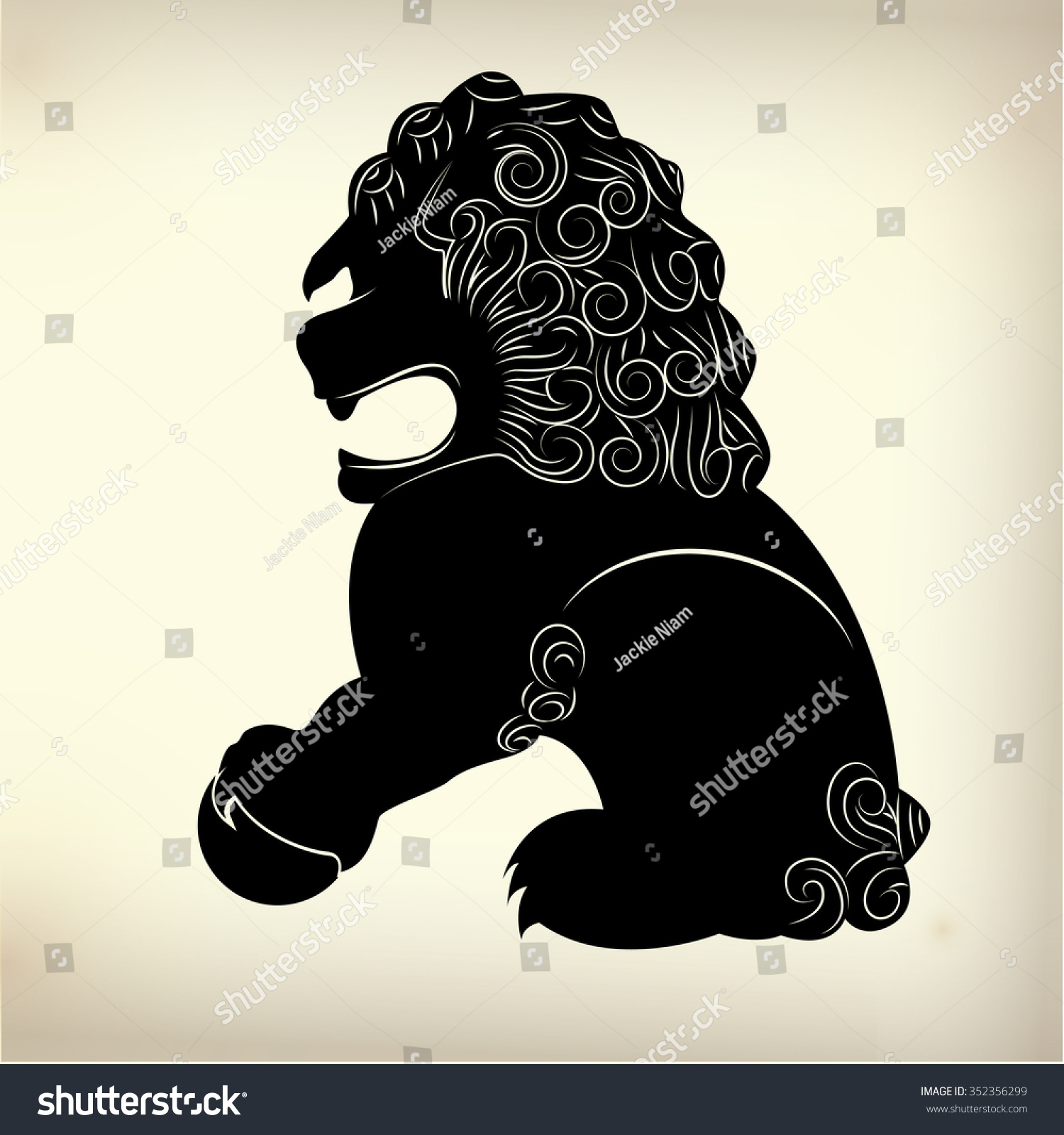 Symbol Traditional Chinese Lion Stock Vector 352356299 Shutterstock