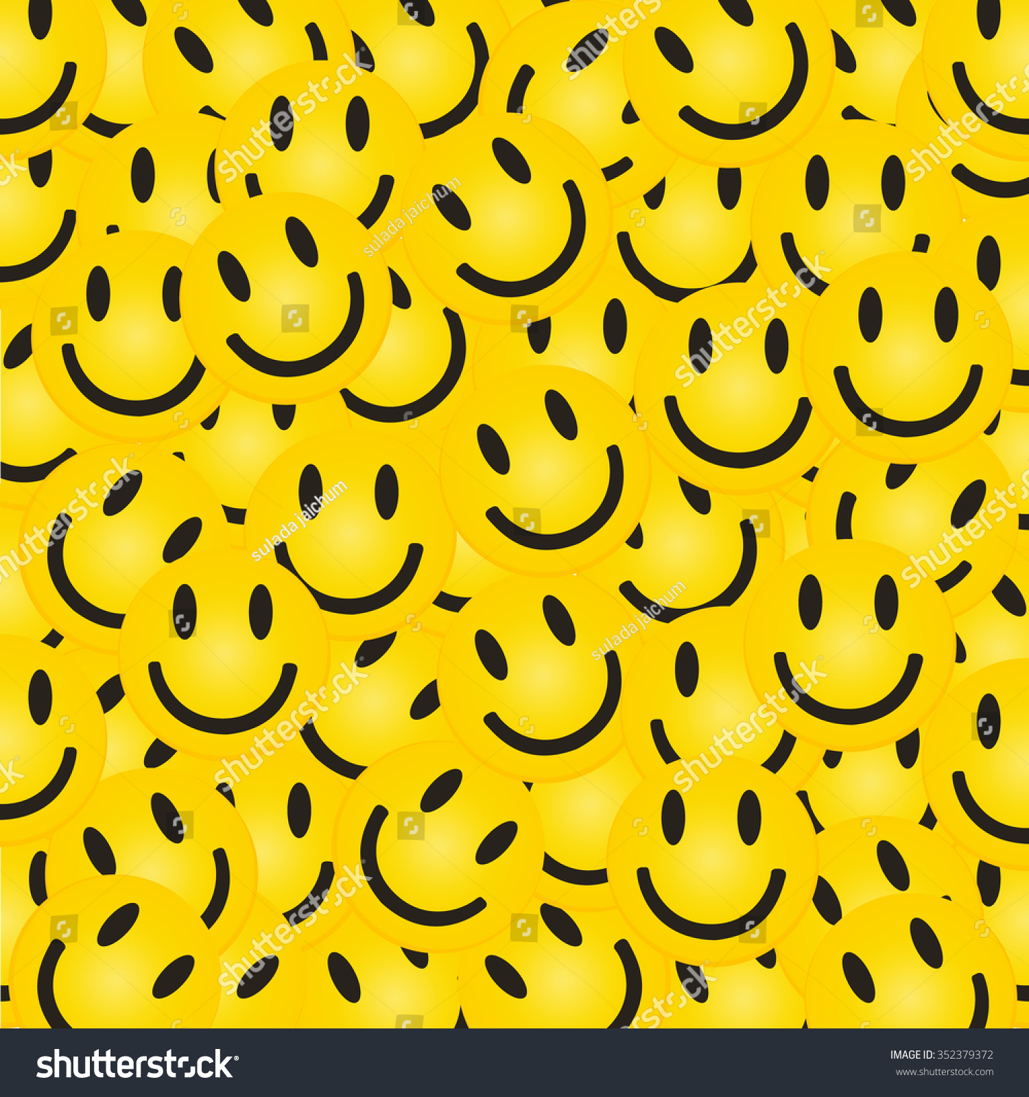 Smile Face Pattern With Colourful Smileys For Textiles