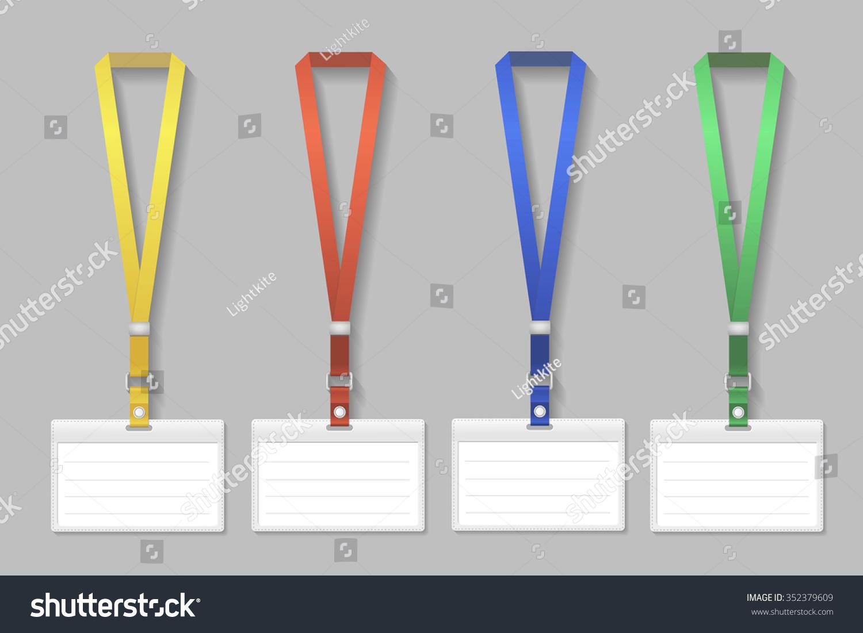 Badge Template Name Bag Holder Lanyard Stock Vector (Royalty Free ...