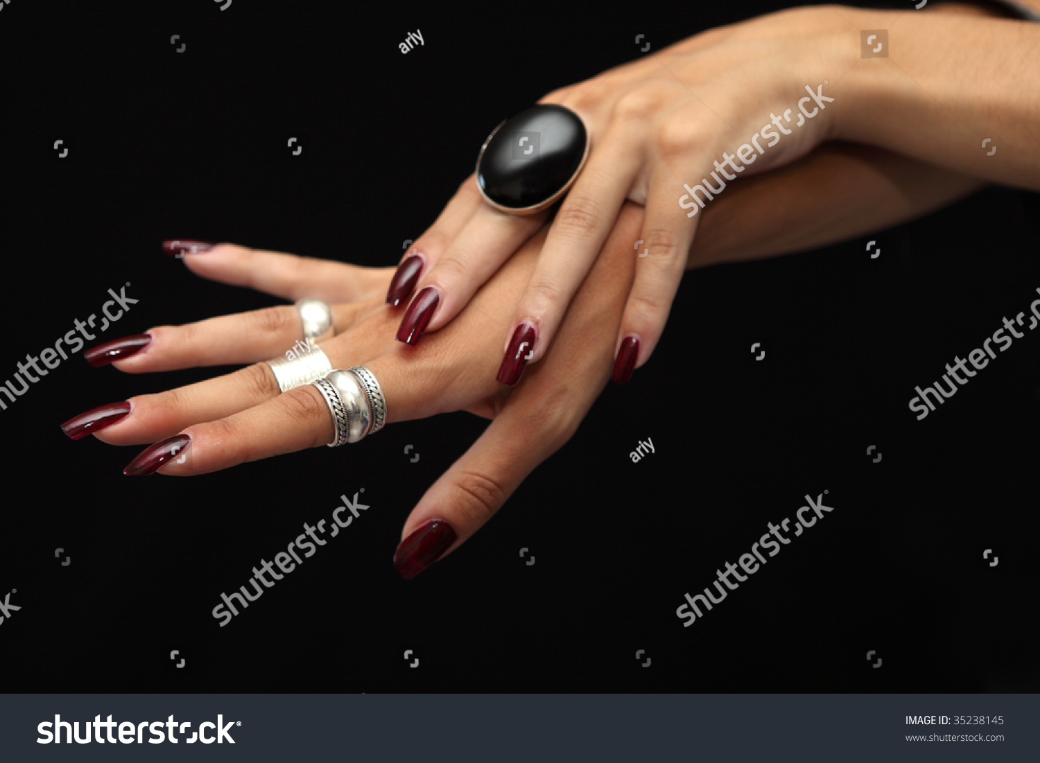 Womans Hands Silver Rings Red Nails Stock Photo (Download Now ...