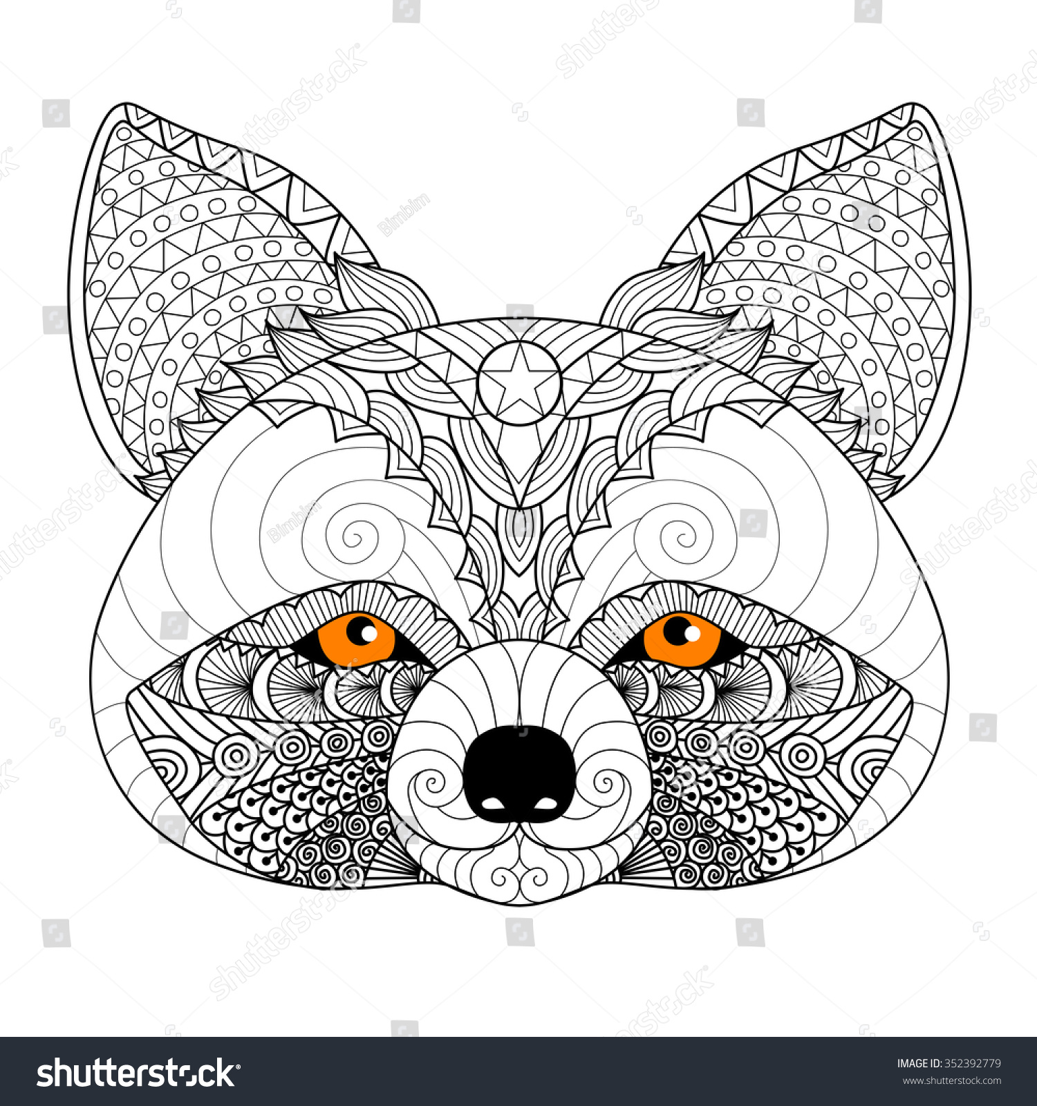 Coloring pages raccoon - Zentangle Raccoon For Coloring Page For Adulttattoo Logo Shirt Design And Other