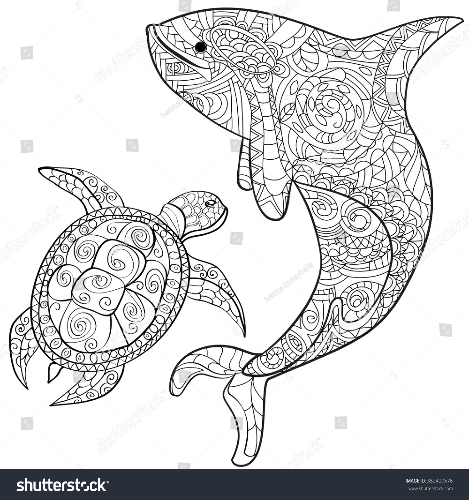 Hand Drawn Whale Turtle Isolated On Stock Vector (Royalty Free ...
