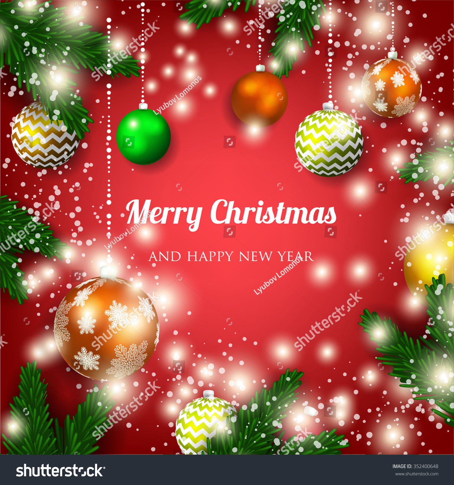 Merry christmas happy new year card stock vector 352400648 merry christmas and happy new year card kristyandbryce Choice Image