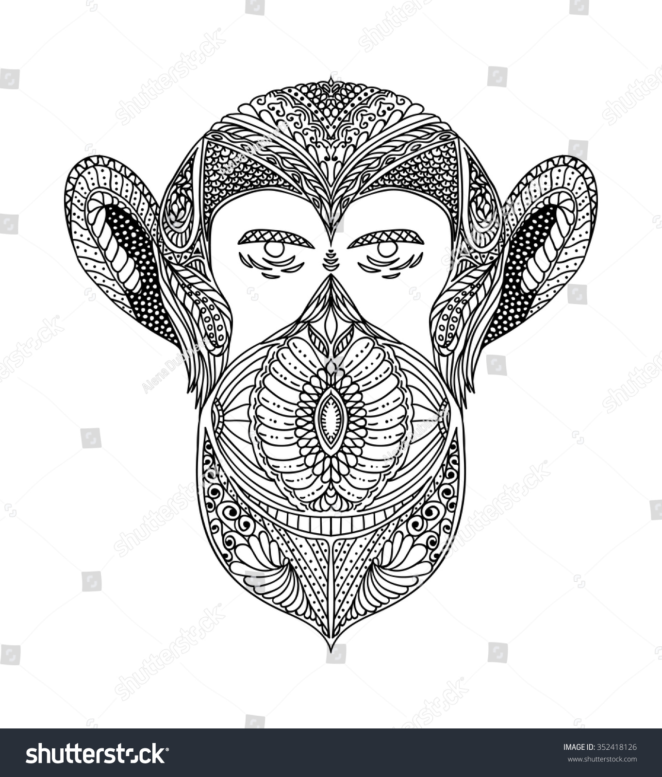 black white ornament faces wild beast stock vector 352418126