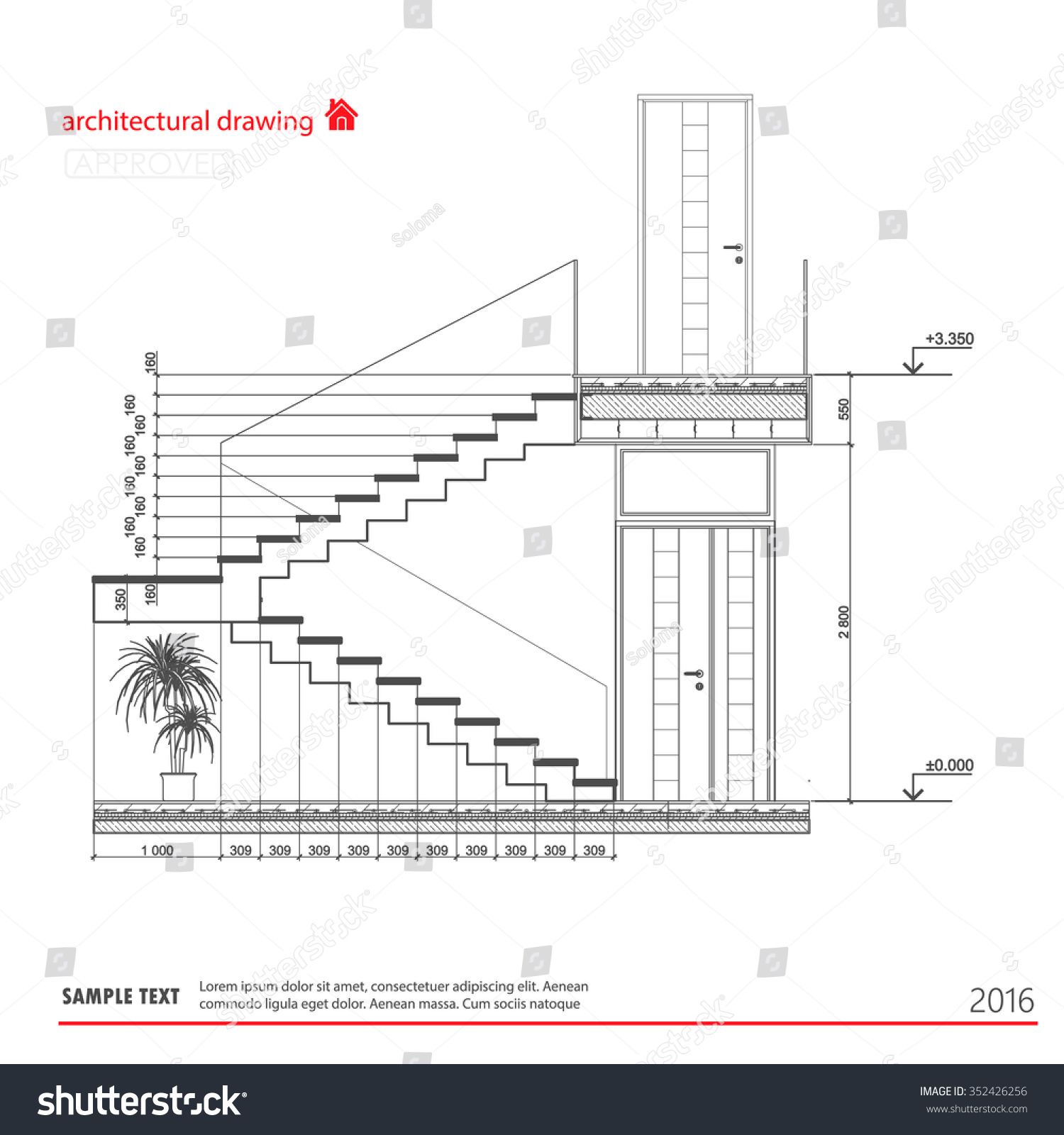 Architectural Drawings Stairs Stock Vector Royalty Free 352426256 And Diagrams