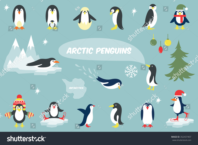 set cute christmas character penguin vector stock vector 352437407