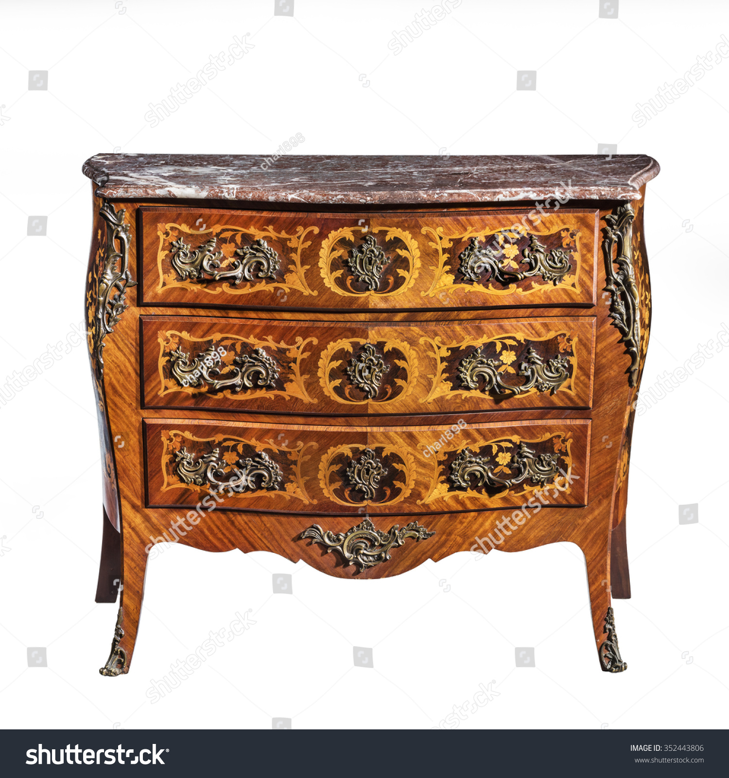 Old Vintage Antique Chest Of Drawers Known As Commode Wood