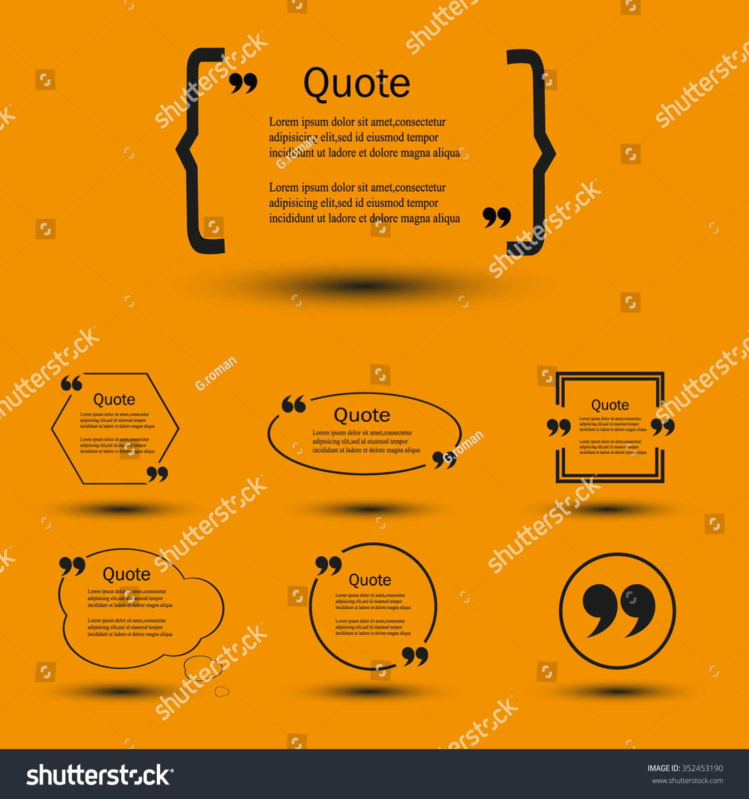 Website Review Quote Citation Blank Template Stock Vector Royalty