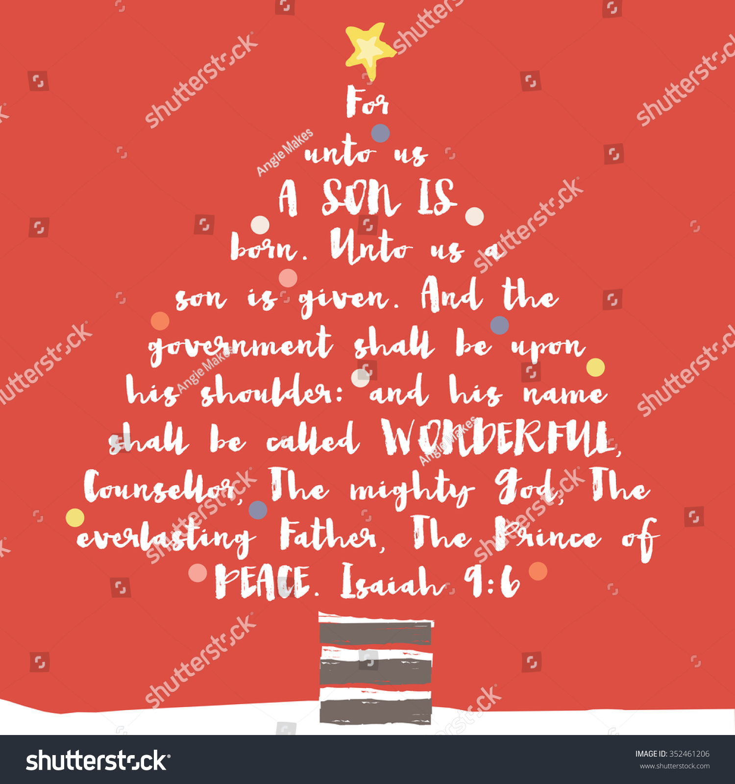 Christmas Tree Bible Verse Christian Bible Stock Illustration