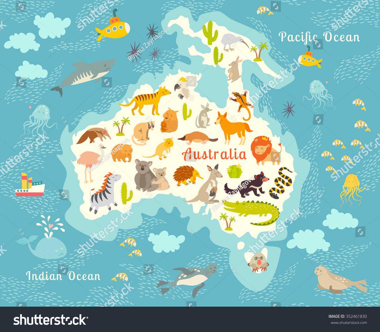 Royaltyfree Animals World Map Australia Stock Photo - Australia world map