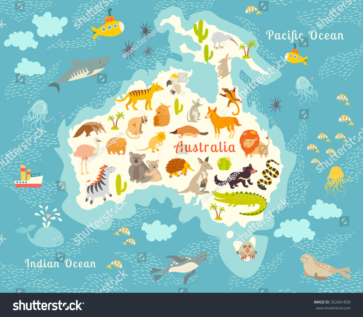 Animals World Map Australia Australian Animals Stock Vector - Australia in world map