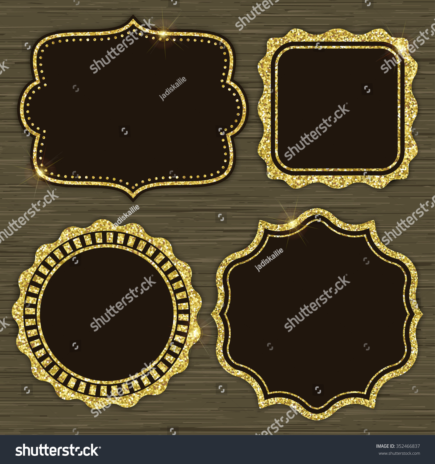 Set 4 gold glitter frames holiday stock vector 352466837 set of 4 gold glitter frames for holiday designs or invitations vector illustration stopboris