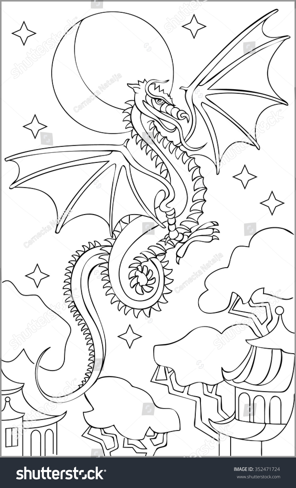 page black white drawing dragon coloring stock vector 352471724