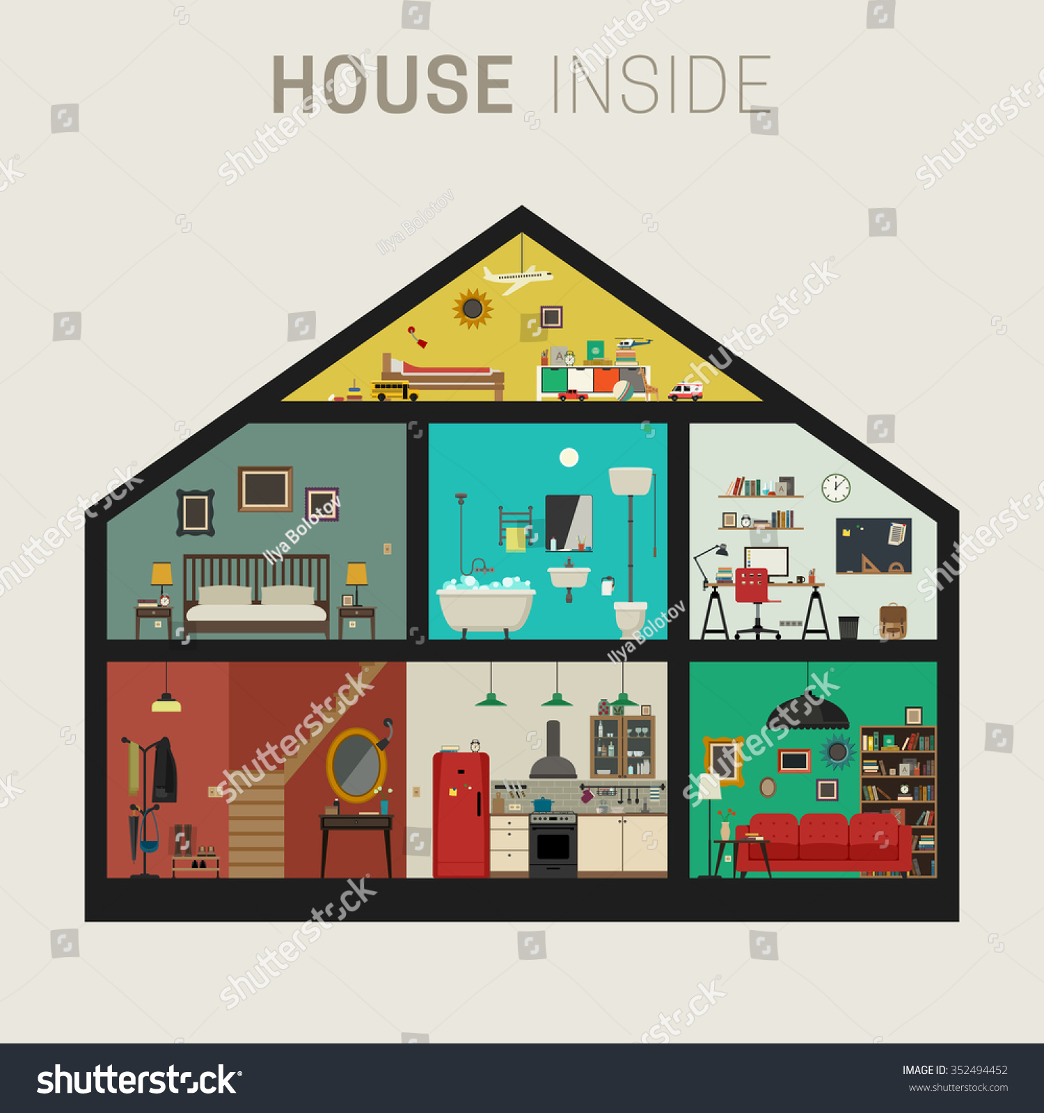 House Inside Interior Vector Flat House Stock Vector