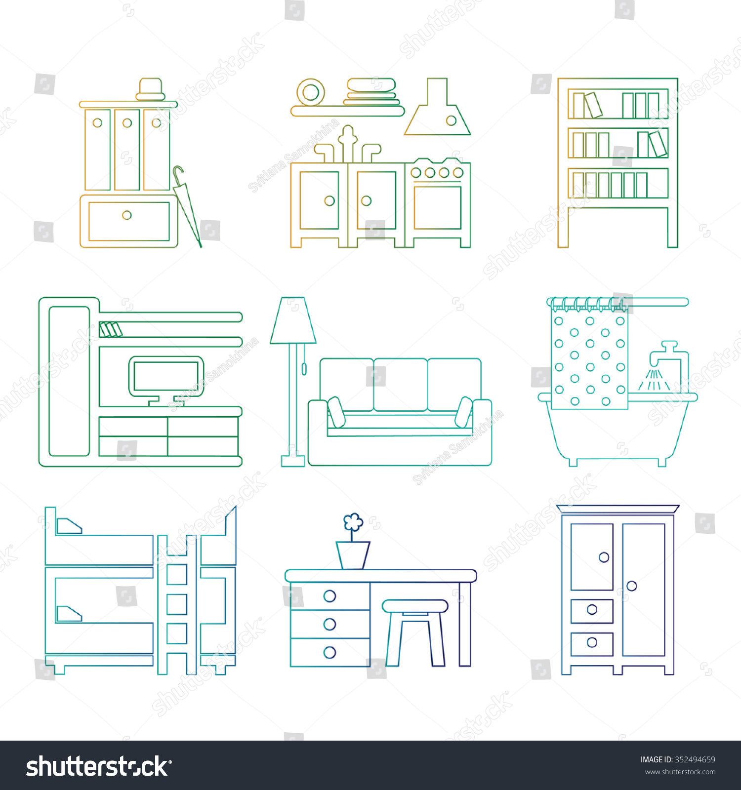 Set Trendy Linear Icons Various Room Stock Vector 352494659 ...