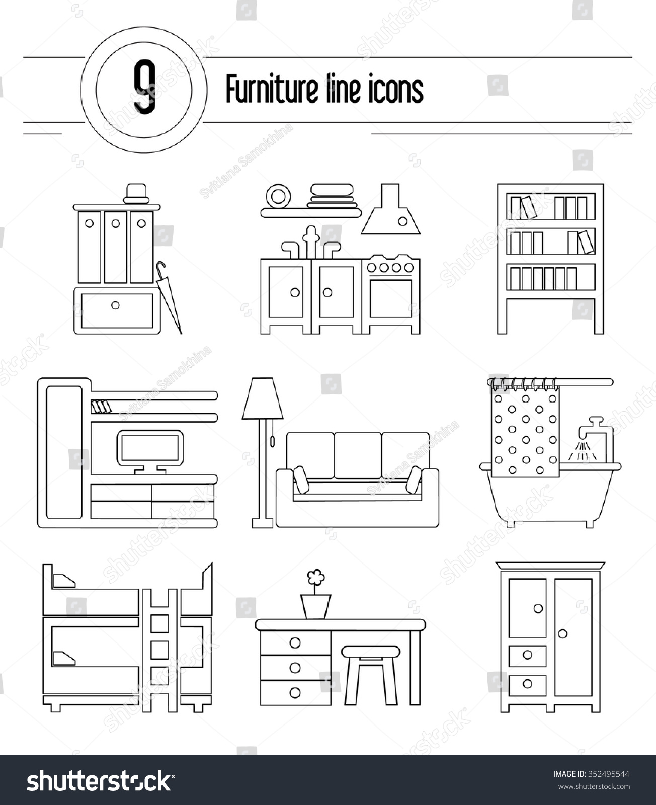 set trendy linear icons various room stock vector 352495544