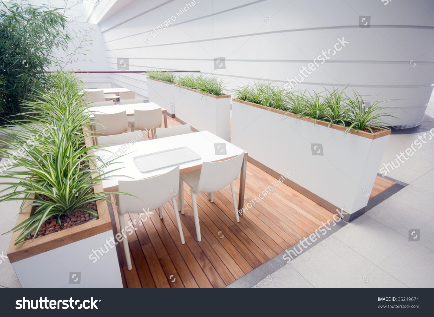 modern restaurant interior. very spacious and clean stock photo