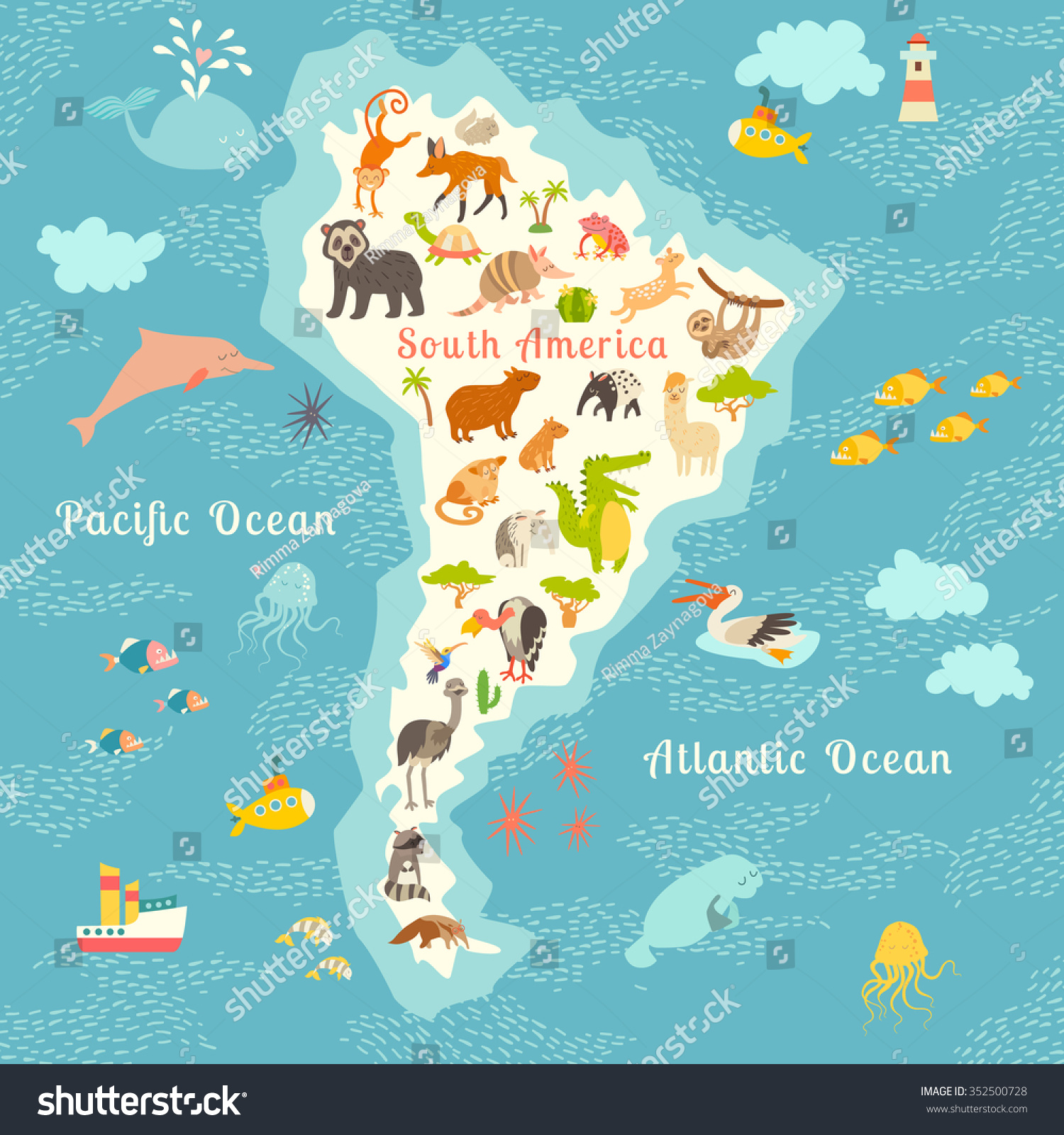 Animals world map south america south stock vector 352500728 animals world map south america south american animals posteruth america mammals cartoon gumiabroncs Image collections