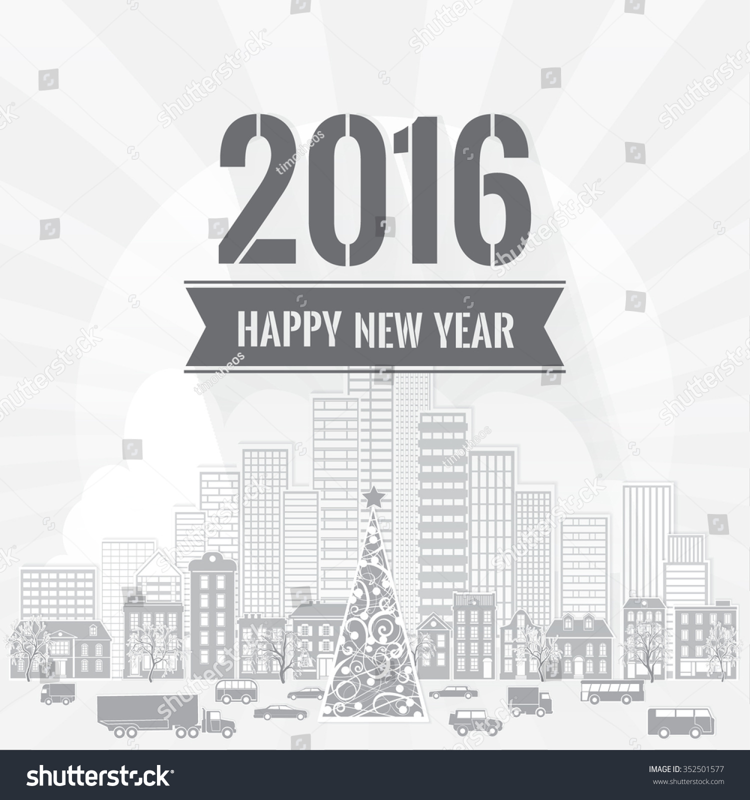 Happy new year greetings card dark stock vector royalty free happy new year greetings card with dark gray letters on light gray background with skyscrapers old m4hsunfo