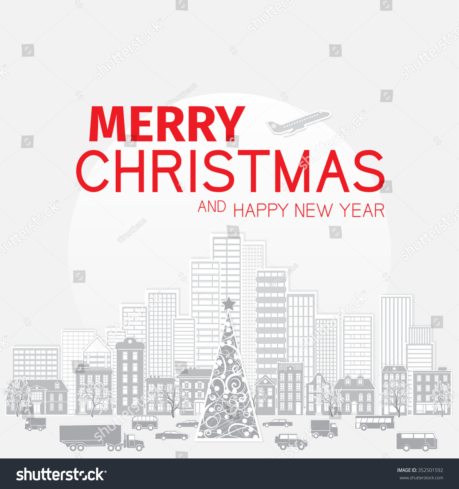 Merry christmas happy new year greetings stock vector 352501592 merry christmas and happy new year greetings card with red letters on light gray background with m4hsunfo