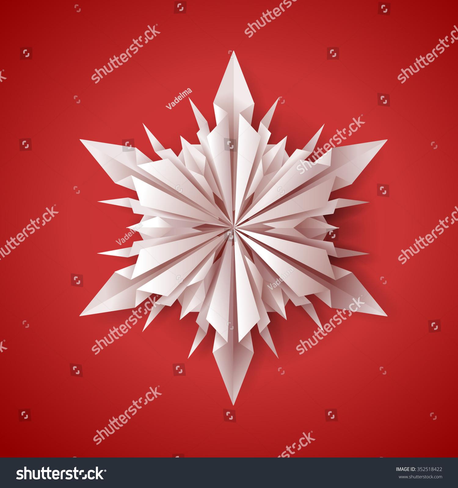 Unique 3d Origamipaper Folded Snowflake Card Stock Vector