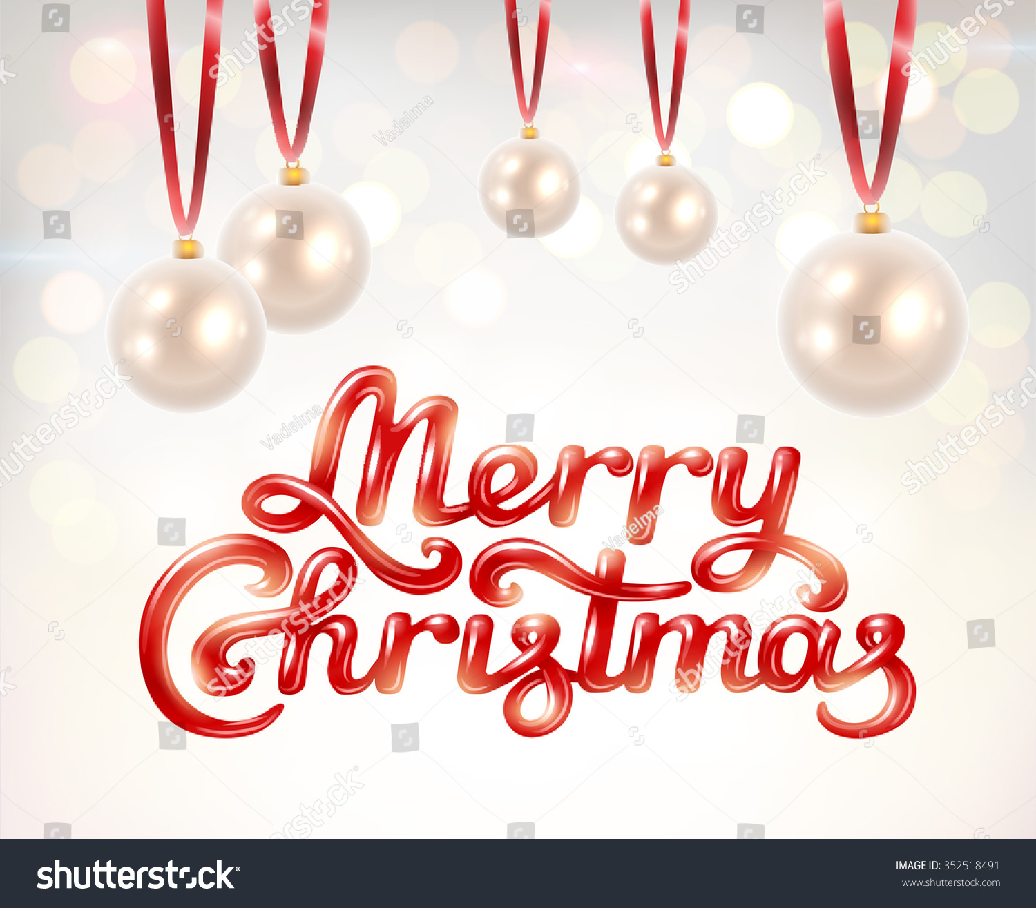 merry christmas hand lettering signature with pearl decoration balls on beautiful bokeh background vector illustration - The Christmas Pearl