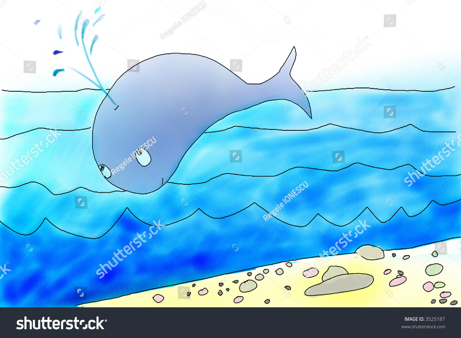 Cute whale in water cartoon isolated illustration stock photography - Blue Whale Jumps Over The Ocean Cetus Jump Hand Drawing Illustration