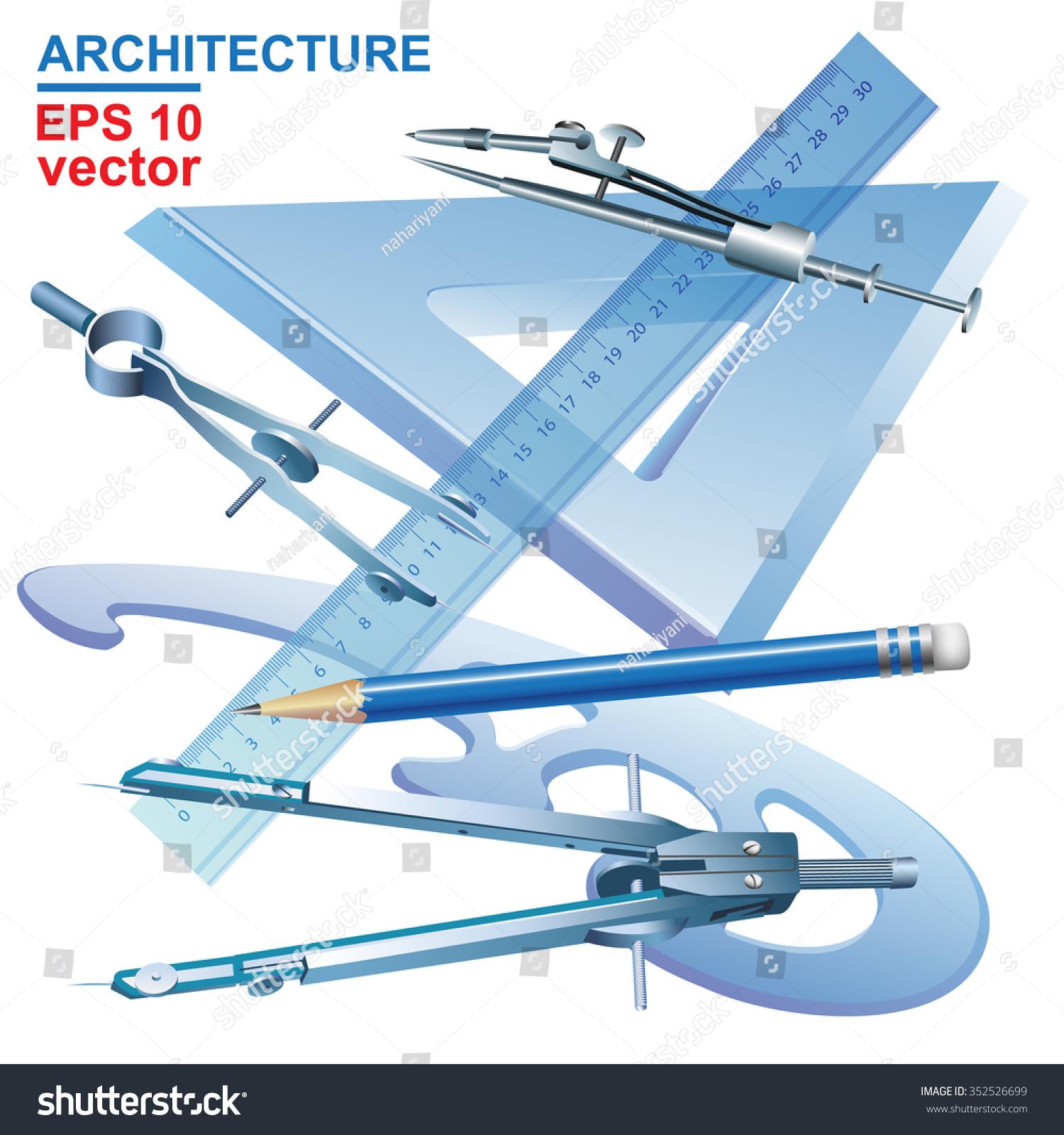 Set Drawing Tools Engineering Symbol Vector Stock