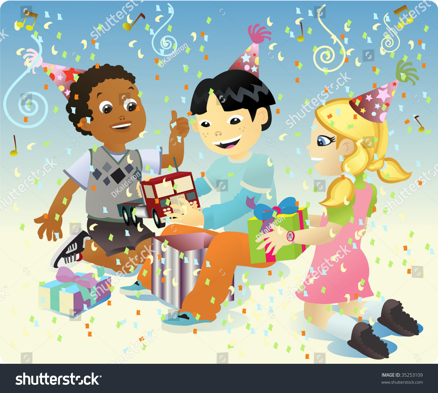 Group Four Kids Celebrating Birthday Party Stock Vector
